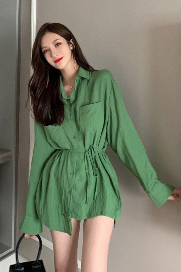 [당일배송] 가을바람 허리끈매듭 포켓카라 셔츠 (그린,베이지)
