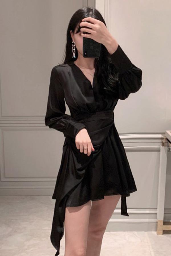 루아 셔링브이 언발원피스 (블랙,화이트,핑크)