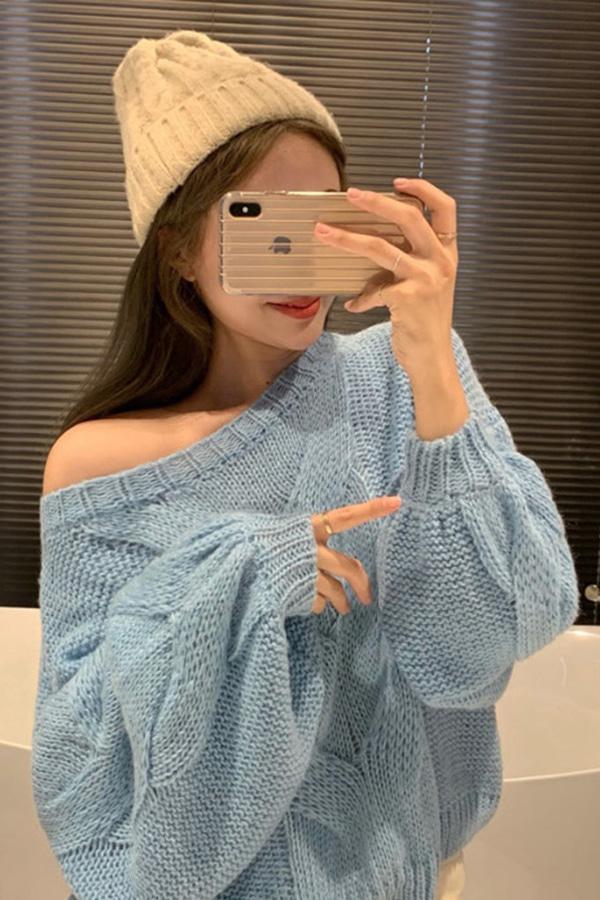 [당일배송] 보호본능니트TOP (블루,오렌지)