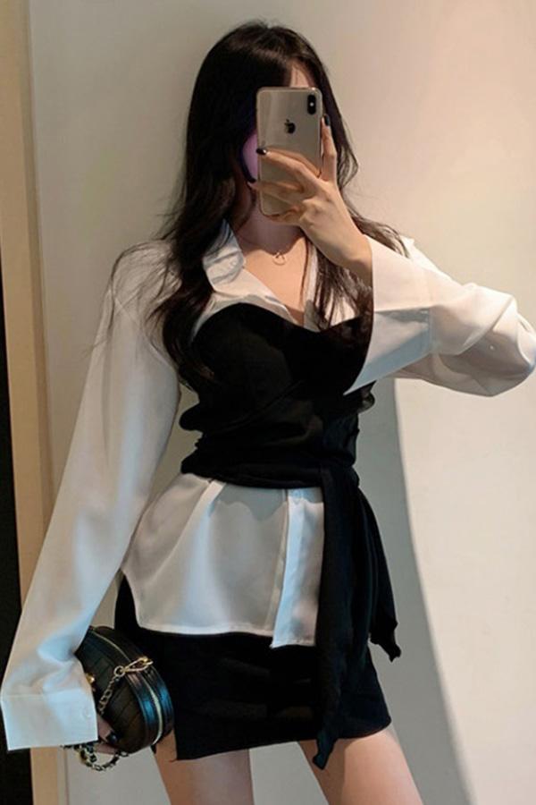 [당일발송] 메르시 화이트셔츠+블랙매듭 뷔스티에세트 SET