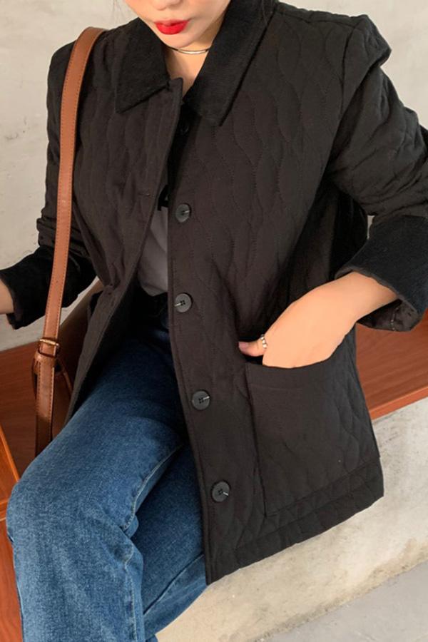 [당일배송] 겨울낙엽 추워져도 끄떡없어 코트안에 퀼팅 숏자켓 (블랙,군녹색)