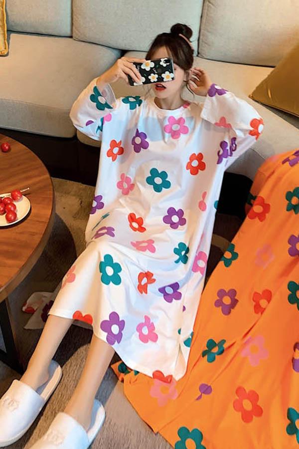 쏘플라워빅프린티링 루즈핏 긴팔 원피스 여성잠옷 (그린,화이트,오렌지)