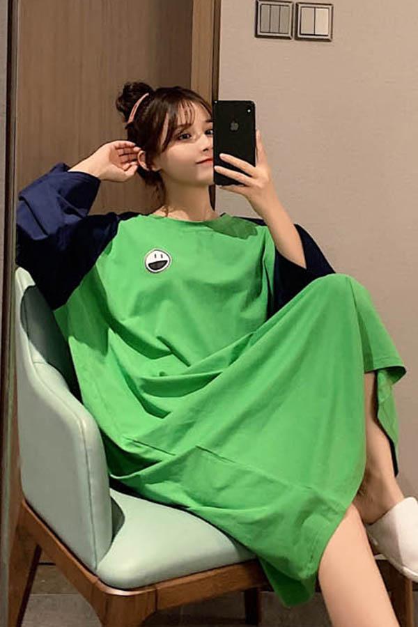 배색스마일 해브펀 루즈핏 원피스 여성잠옷 (그린,화이트,옐로우)