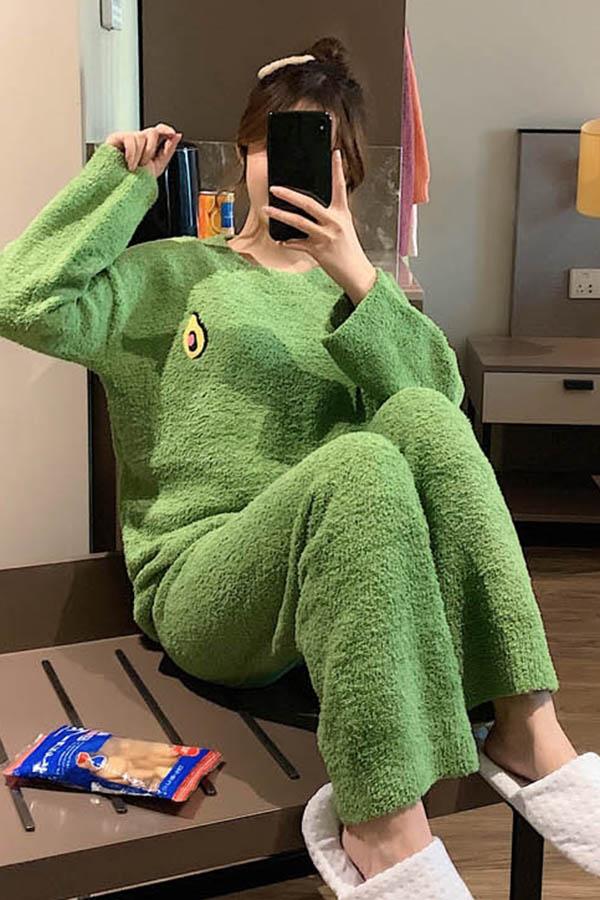 아보카도 보드라미 라운드넥 투피스 수면잠옷 여성 파자마