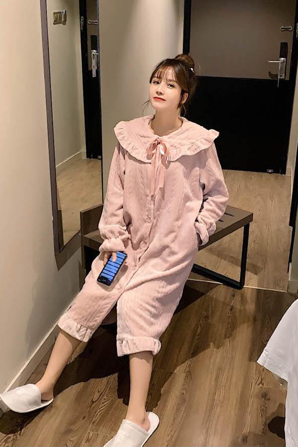 아이돈케어 프릴넥 리본라인 단추 원피스 수면잠옷 여성파자마 (핑크,아이보리,블루)