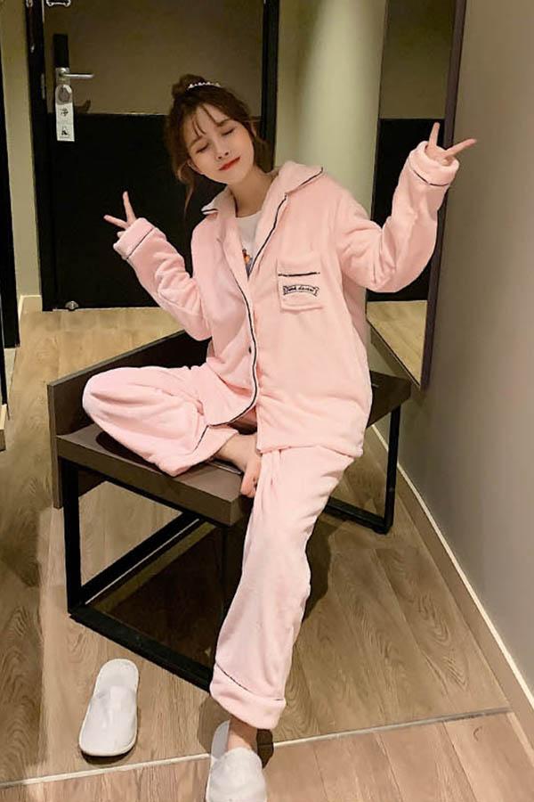 핑키데이키 보들 가슴포켓 카라형 투피스 수면잠옷