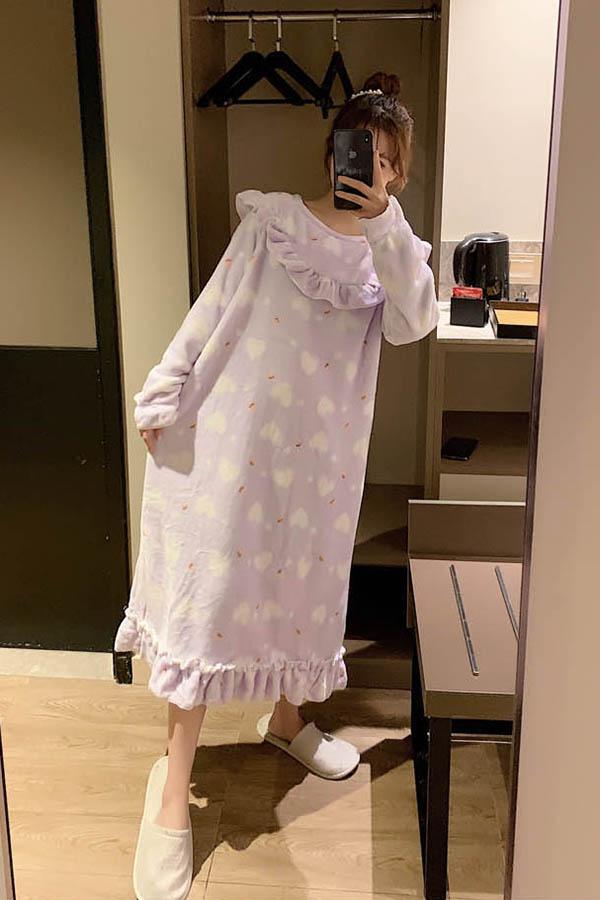 하트하뚜 넥프릴 퍼플 큐티뽀짝 원피스 수면잠옷