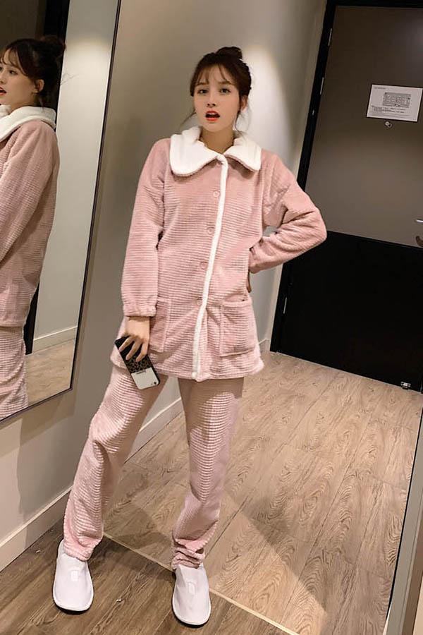 엠보싱 배색카라 단추 투피스 수면잠옷 여성파자마