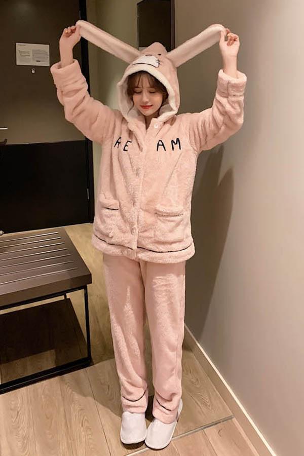 귀달이 양포켓 뽀송이 수면잠옷 여성파자마 (핑크)