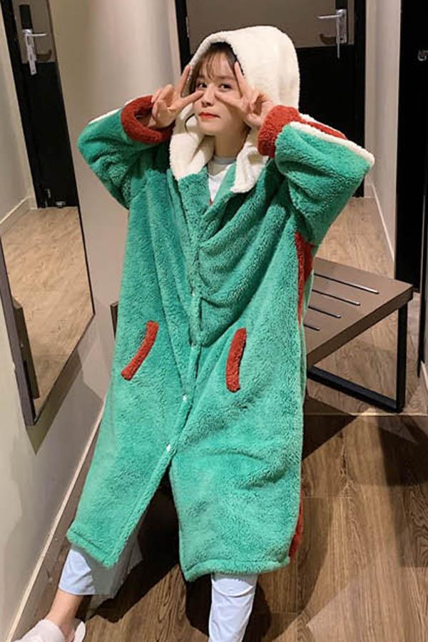 빅빅사이즈 후드배색 뽀송이 포켓 로브형 수면잠옷 여성파자마
