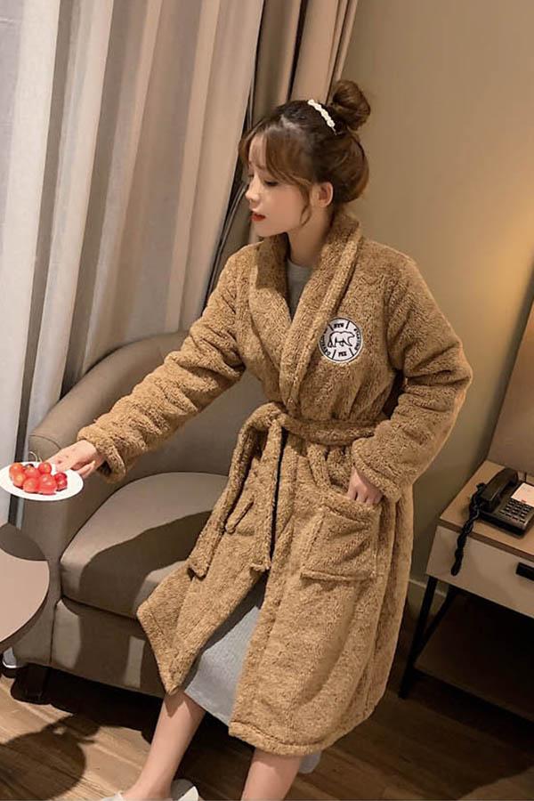 베어스 패치포인트 뽀송이 로브가운 수면잠옷 여성파자마