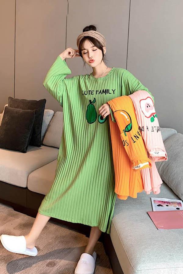 큐티패밀리 골지 프루트 긴팔 원피스 여성잠옷 (그린,핑크,옐로우)