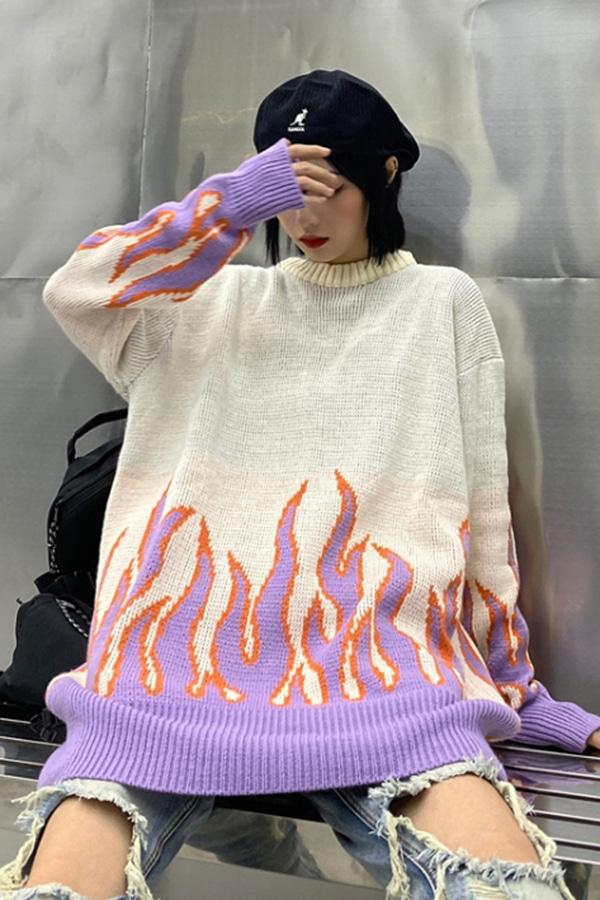 파이어벳 불꽃 오버 니트 스웨터 (아이보리,블랙)