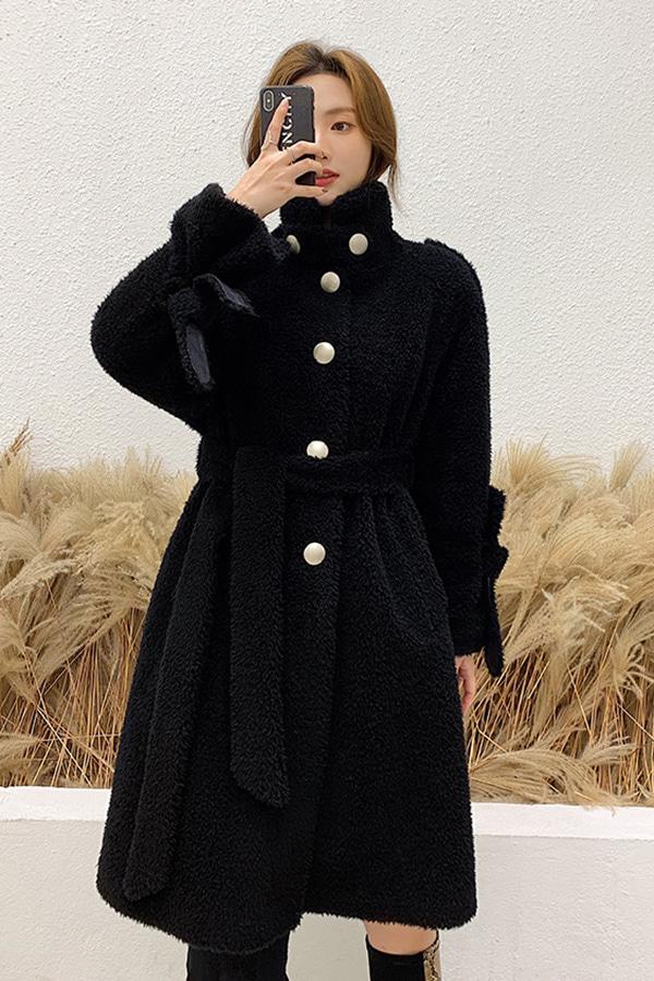 ◆[리얼퍼]윈터여신 매탈버튼 고급스러운 하이넥 벨트롱양털코트 (블랙,메이플옐로우)