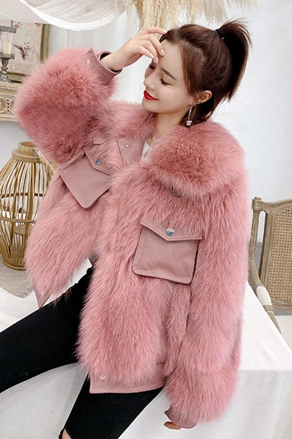 ◆◆[리얼퍼] 오로라 예쁜느낌 리얼퍼 숏 자켓 (핑크,그린,블루,까마귀블랙)