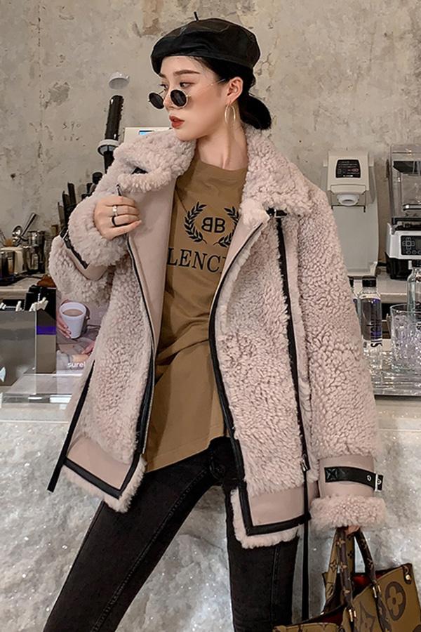 ◆◆[리얼퍼] 겨울소녀 데일리 숏 무스탕 털자켓 (밀크티,라이트블루,퍼플)