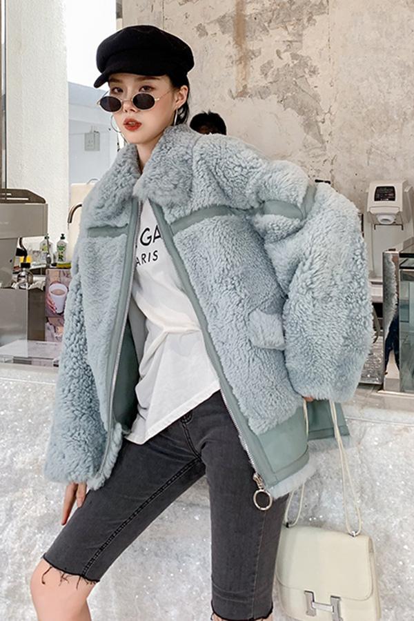 ◆◆[리얼퍼] 잇템 데일리 숏 컬러 양털 자켓 (옐로우,라이트블루,퍼플,밀크티)