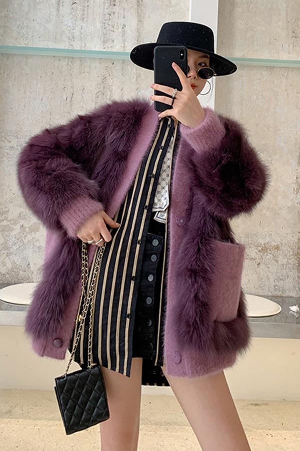 ◆[리얼퍼] 보라보라 포인트 양털 숏 자켓