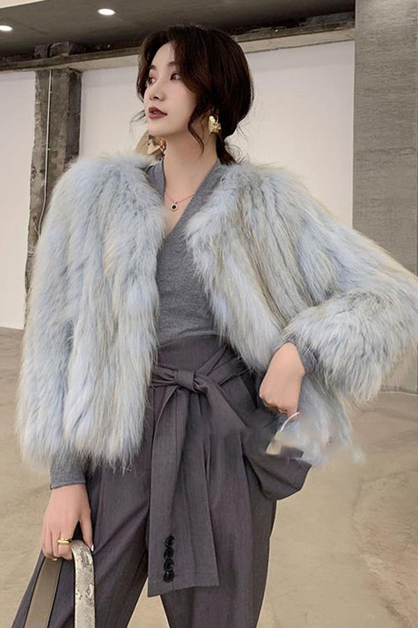 ◆[리얼퍼]메이비 비비드 컬러라인 리얼퍼 코트 (핑크,블루)