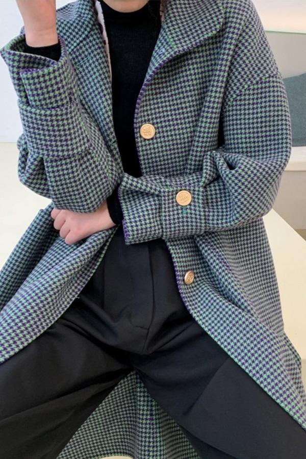 ◆쥬디 데일리 캐주얼 넥포인트 캐시미어 핸드메이드 롱 코트 (라이트커피,그린하운드투스체크,그린커피체크)