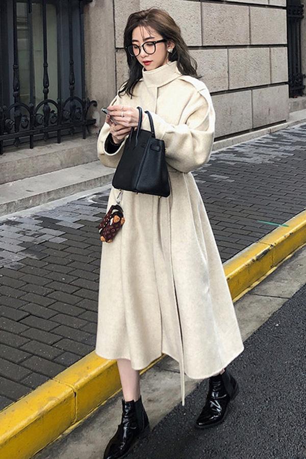 ◆제너레이션 베이직 데일리 허리 매듭 오버 롱 핸드메이드 모직 코트