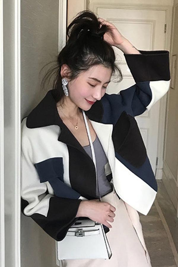 ◆핀 유니크 트렌디 배색 포인트 핸드메이드 숏 코트