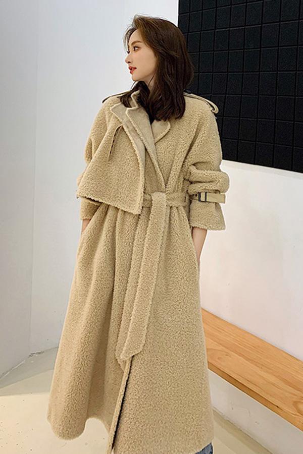 ◆[리얼퍼]미우 트렌치스타일 벨티드 양털 따듯한겨울 롱양털코트 (베이지브라운,아이보리)