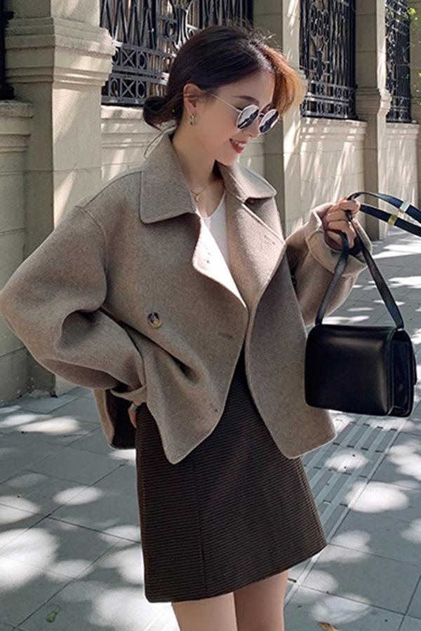 ◆미스트 숏더블 커피라떼 핸드메이드자켓 [wool 100%]