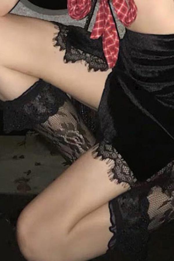엘리자베스 레이스 매쉬 반스타킹 삭스 (화이트,블랙,핑크)