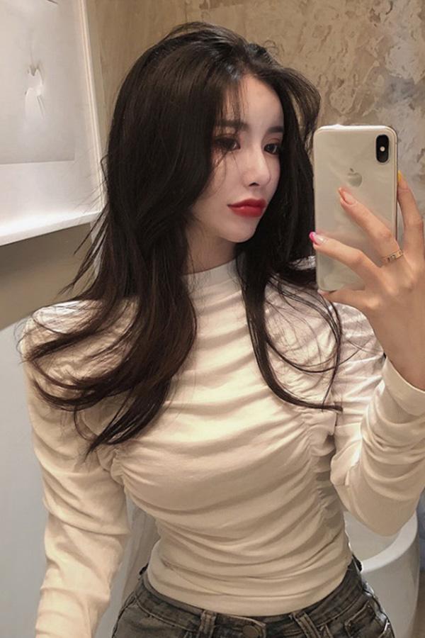 [당일배송] 셔링만발 주름포인 섹시 티셔츠  (블랙,화이트)