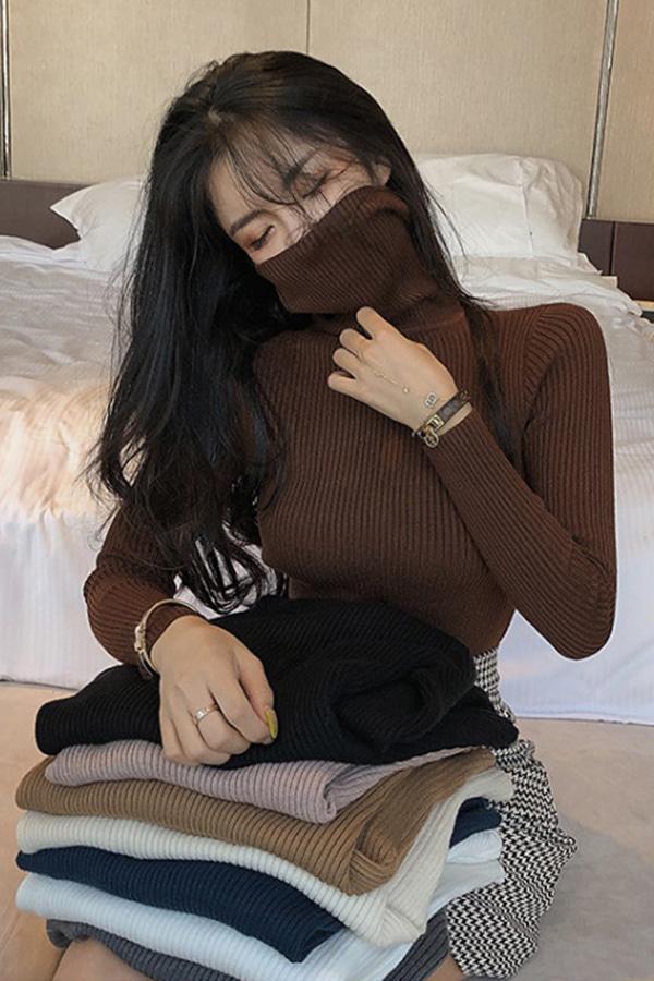 [당일배송] 하이퀄 소프티 텐션 골지하이넥 터틀니트 (블랙,화이트,커피브라운)