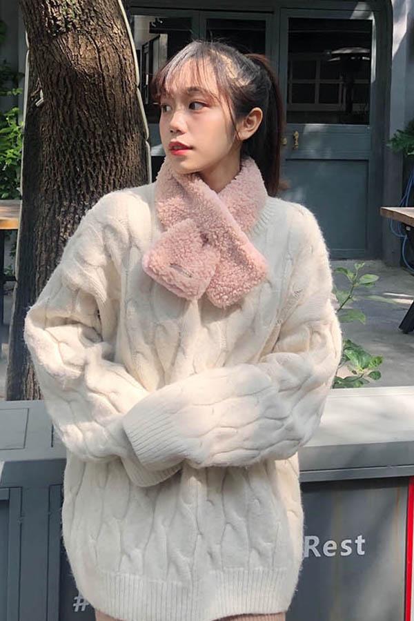 체이크 뽀송이 미니 여성 쁘띠머플러  (6color)