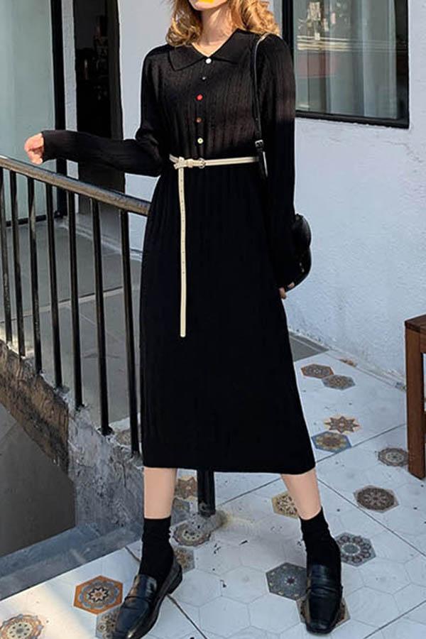 컬러풀버튼 카라 일자라인 여성 원피스 (블랙,살구)