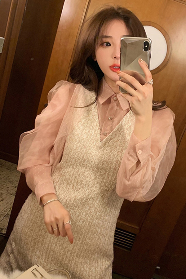 최강여신 레이스시스루 연말룩 파티미니원피스 (블랙,핑크)