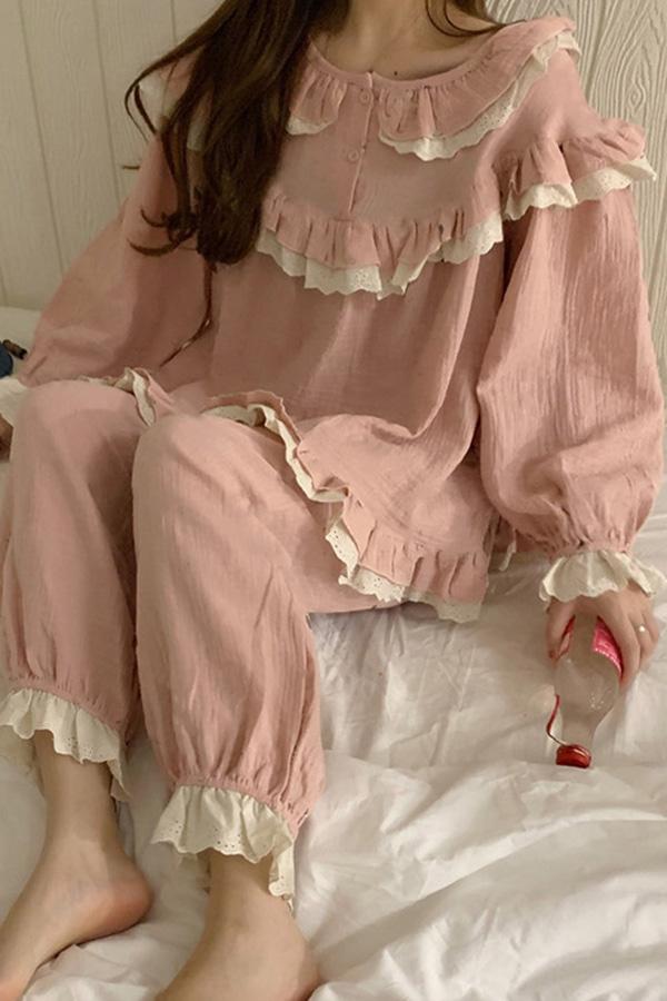네이션라운드프릴 공주공주 여성 파자마세트 (블루,핑크)