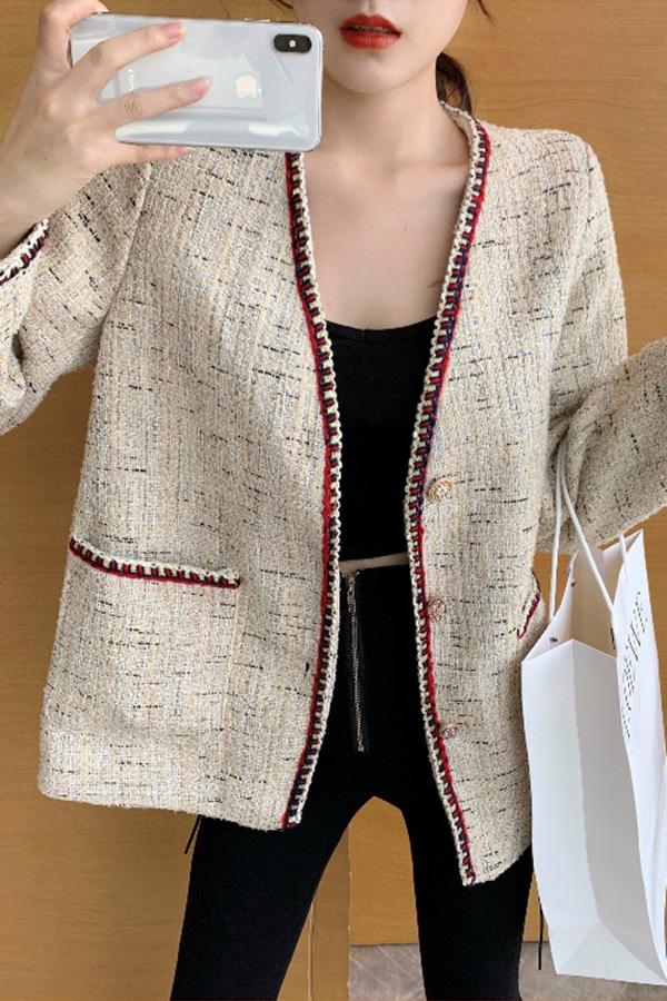 [당일배송] 포커스 트리밍 봄가을겨울 사계절데이트룩 오버핏 노카라 트위드자켓