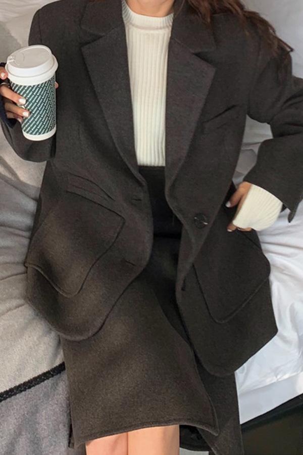 [당일배송] 솔리드 시크함가득 완벽코디 셀럽 오버사이즈 자켓+트임스커트 투피스셋업세트SET (커피브라운,그레이블랙)