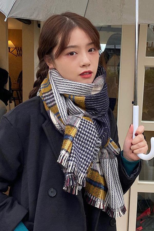 띵킹 데일리 컬러체크 머플러 (네이비,레드,핑크)
