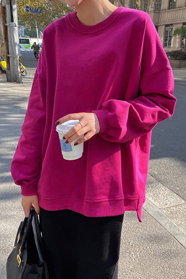 따듯한봄 화사한 데일리 루즈핏 언발 박스 맨투맨티셔츠