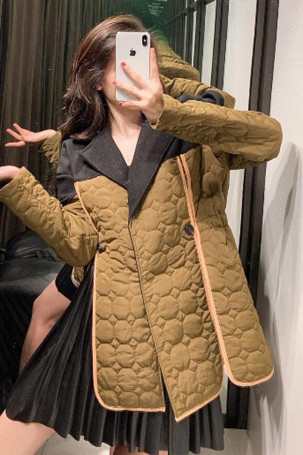 칼리 유니크 절개라인 누빔배색 자켓