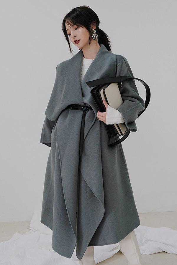 끌로쉐입 드레이프 빅카라 핸드메이드코트[wool100%] (블랙,블루)