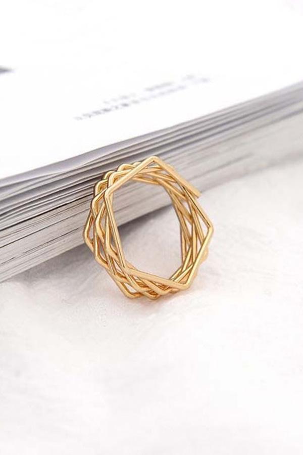 레이어 다각 큐브링 반지
