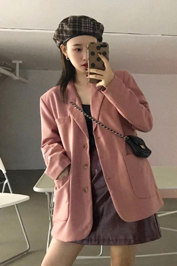 쿠란 핑크 슬릿 포켓 스탠다드 자켓 (핑크)