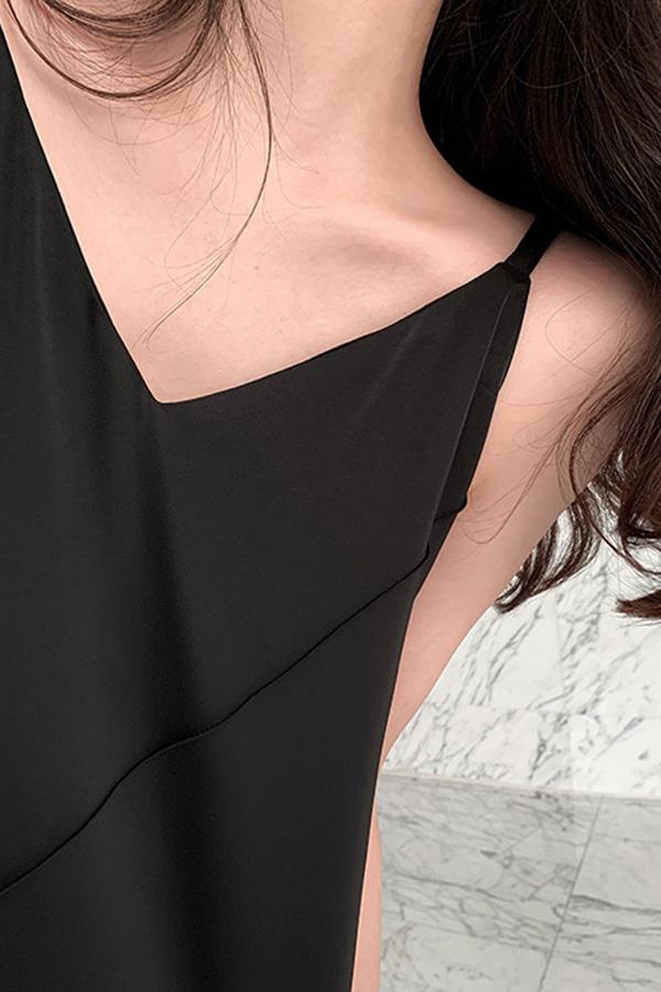 이노센트슬리브리스 여성 끈 원피스 (블랙,그레이)