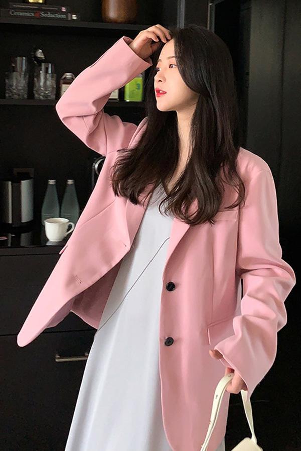 썸원컬러풀 스프링 화사 루즈핏 여성자켓 (살구,핑크)