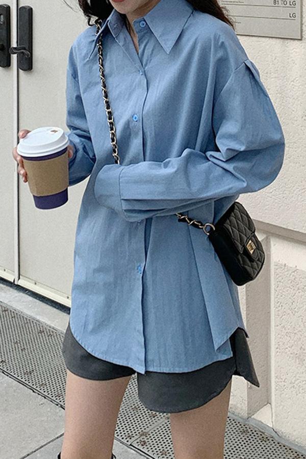 러브밍 데일리 루즈핏 셔츠 (블루,살구)
