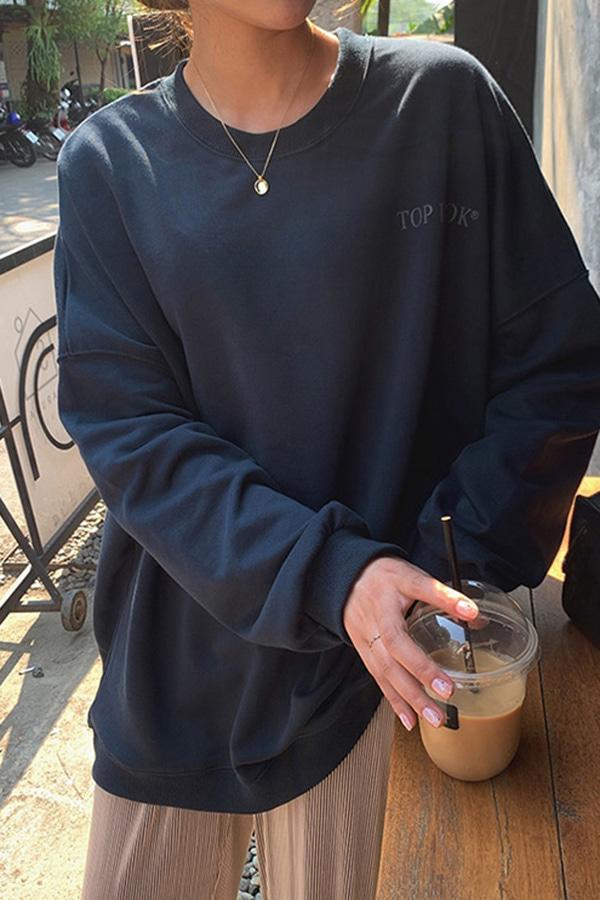 탑클라스 데일리 루즈핏 박스 맨투맨 티셔츠 (로즈레드,네이비,블랙)