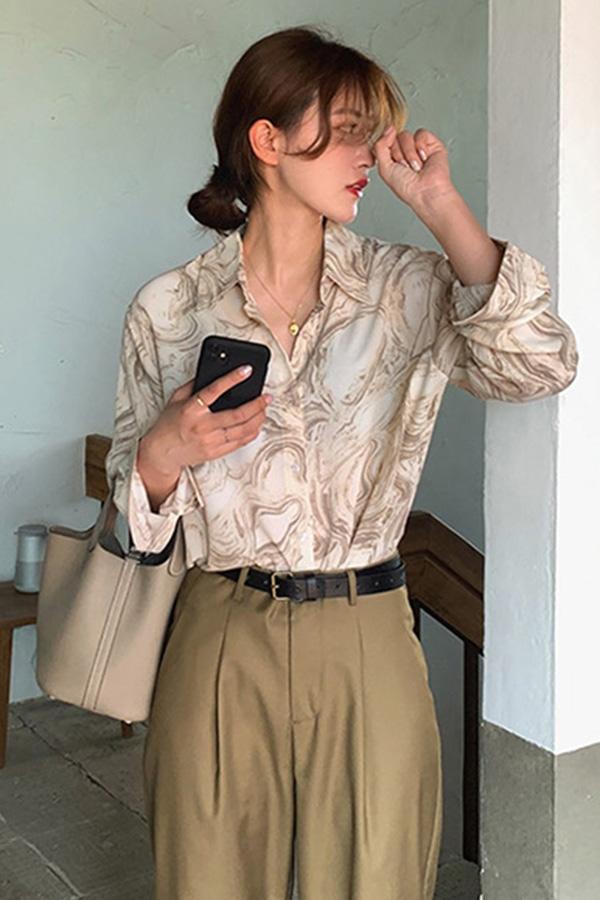 마블포인트 데일리 여신 셔츠 블라우스 (살구,핑크)