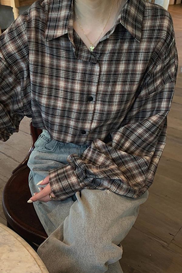 스트링체크 박스 루즈핏 데일리 셔츠 (그레이,커피,브라운)