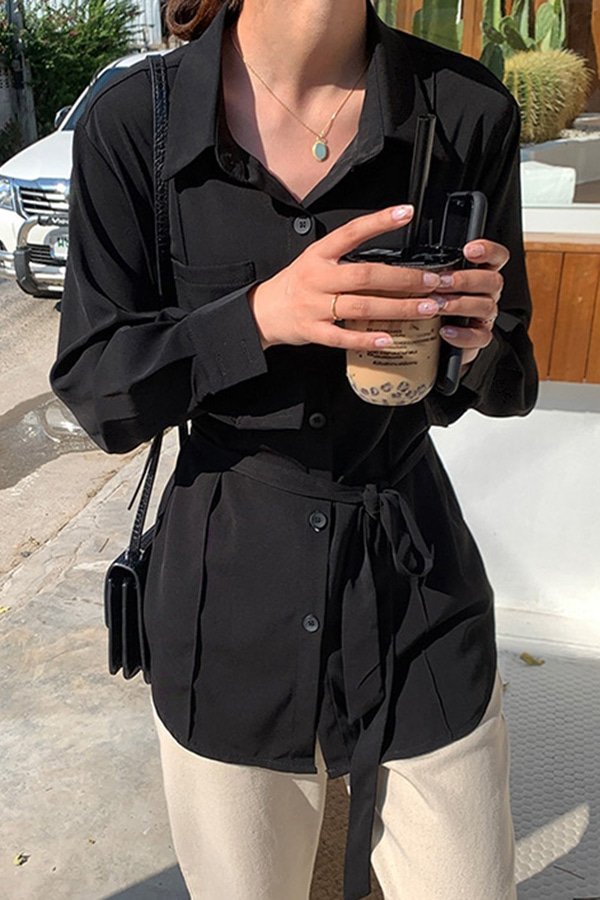 활용성굿 내추럴 타이 데일리 블라우스 벨트 셔츠 (블랙,살구)